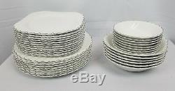 Snowhite Regency Johnson Bros China 34 pcs RARE Silver Trim