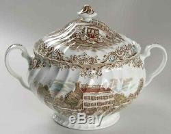 Soup Tureen Bowl Family Gatherings Johnson Brothers HERITAGE HALL BROWN MULTI
