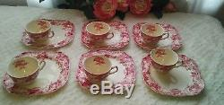 Strawberry Fair Pink by Johnson Bros Teacup & Snack Plate Set of 6 Discontinued