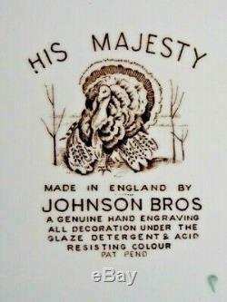 Thanksgiving Set (6) Turkey Plates Johnson Bros HIS MAJESTY VTG England Old Mark