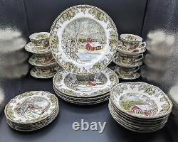 The Friendly Village Johnson Brothers 31 Piece Set Plates, Bowls, Cups & Saucers
