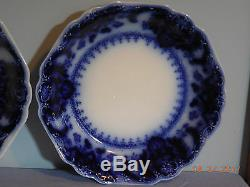 Three Florida Flow Blue 7 3/8 Soup Bowls By Johnson Brothers #2