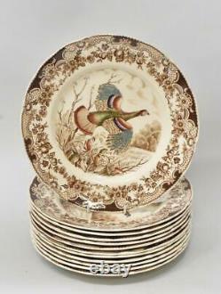 Twelve Vintage Windsor Ware Wild Turkeys Dinner Plates Johnson Brothers England