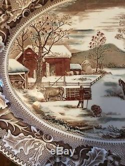 VINTAGE Home For Historic America Thanksgiving Johnson Bros. England Platter 20