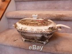 VINTAGE Johnson Brothers FRIENDLY VILLAGE Rectangular Soup Tureen & Ladel 16.25
