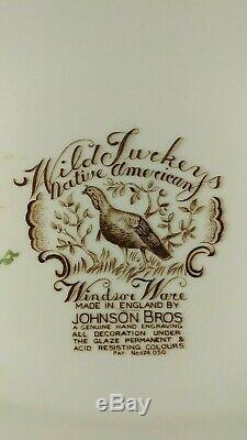 VTG Johnson Bros Native American Windsor Ware Wild Turkeys 20 Platter