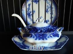 Very Rare HTF Flow Blue Johnson Bros. Florida 4 piece Huge Soup Tureen Set