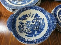 Vintage 32 Pieces of Johnson Bros. Willow Pattern China Dinner Bread Salad Plate