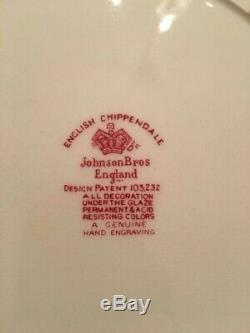 Vintage 75 Piece Johnson Bros English Chippendale Floral China Dinnerware
