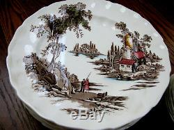 Vintage Beautiful Johnson Bros England The Old Mill 45 ps platter Plate Bowl