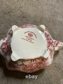 Vintage English Chippendale Johnson Brothers Rose Flower Teapot England Red