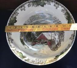 Vintage Friendly Village Johnson Brothers Huge 12 Salad Or Punch Bowl Rare