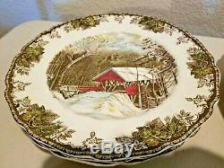 Vintage JOHNSON Brothers FRIENDLY VILLAGE Multi-Color MADE in ENGLAND 39-Piece