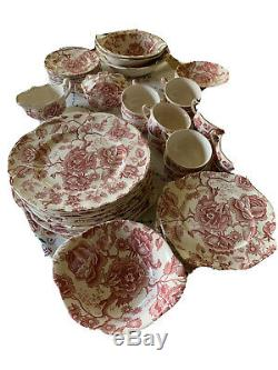 Vintage Johnson Bros English Chippendale Red/pink 12 Piece Place Setting