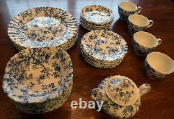 Vintage Johnson Bros. Old Bradbury Blue 42 pieces including Sugar Bowl with Top
