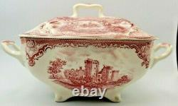 Vintage Johnson Bros. Old Britain Castles Soup Tureen Red Transferware Large