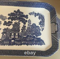 Vintage Johnson Brothers Blue Willow Rectangle Sandwich Plate England 14 x 6