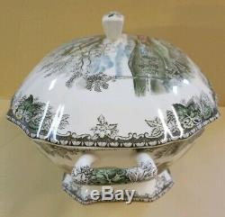 Vintage Johnson Brothers Bros Rectangle Friendly Village Soup Tureen with Ladle