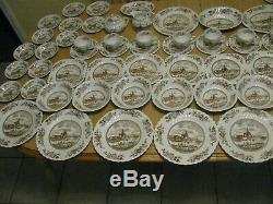 Vintage Johnson Brothers China Tulip Time 61 Pc Service Set England Brown Mint