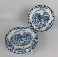 Vintage Johnson Brothers Heritage Hall Blue Transferware 49 Pc Set Service for 8