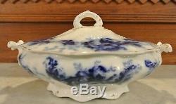 Vintage Johnson Brothers Mentone Royal Flow Blue Covered Vegetable Dish/Tureen