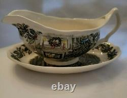 Vintage Johnson Brothers Merry Christmas Gravy Boat and Under Plate