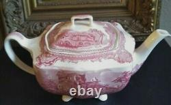 Vintage Johnson Brothers OLD BRITAIN CASTLES PINK 6 Tall Teapot and lid