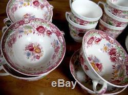 Vintage Porcelain Johnson Bros Tea, Soup and Dinner Set, Made in England. Set of 40