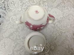 Vintage, Rare, Johnson Bros, England, Red-Blue Willow 6pc Tea Set for 4