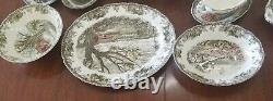 Vintage The Friendly Village Johnson Bros Dinner Set For 8 64 pcs and Extras