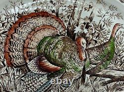 Vintage Wild Turkeys Serving Tray Windsor Ware Johnson Bros England 20 x 16