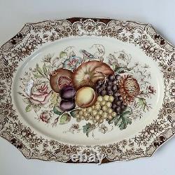 Vintage Windsor Ware Johnson bros. Turkey Platter Harvest Fruit 20 X 16