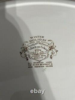 Vtg Johnson Bros Platter England WindsorWare Horse Sleigh 20 Winter Decor Minty