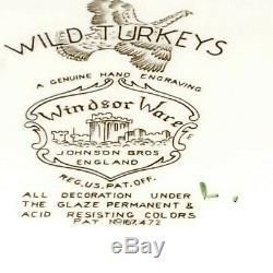 WINDSOR WARE FLYING WILD TURKEYS 20.5 serving platter tray Johnson Bros England