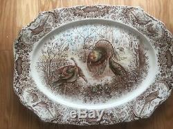Woodland Wild Turkeys Platter Windsor Ware by Johnson Bros. In England 20x15 1/2